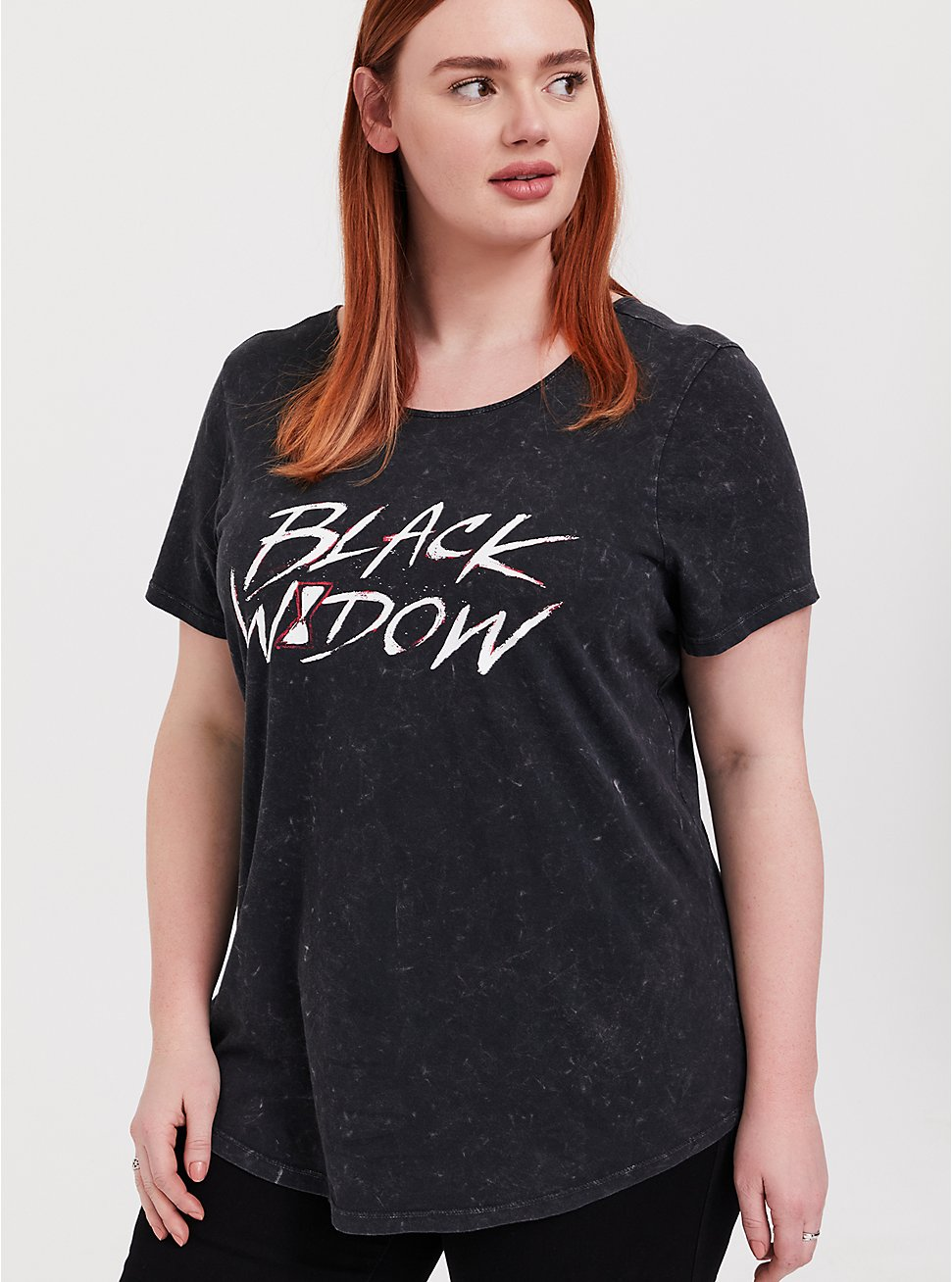 Her Universe Marvel Black Widow Cage Back Black Mineral Wash Top, DEEP BLACK, hi-res