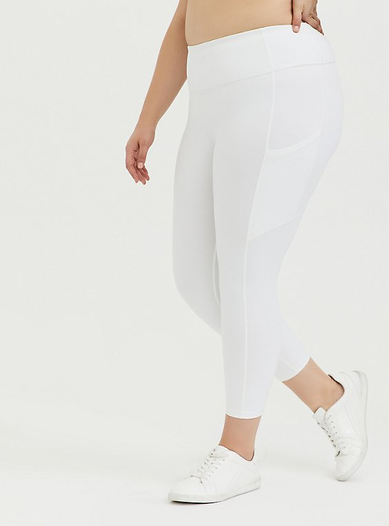 White Crop Wicking Active Legging with Pockets, , hi-res