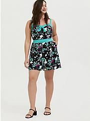 Her Universe Disney Retro Alice In Wonderland Black & Turquoise Romper, MULTI, alternate
