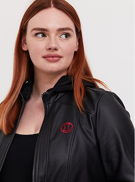 Plus Size Her Universe Marvel Black Widow Black Faux Leather Hooded Jacket, DEEP BLACK, alternate