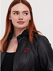 Her Universe Marvel Black Widow Black Faux Leather Hooded Jacket, DEEP BLACK, alternate