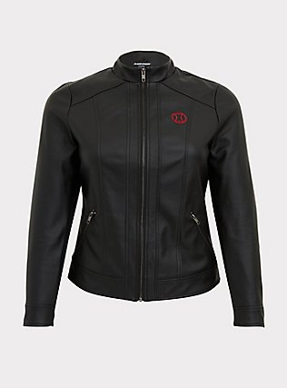 Her Universe Marvel Black Widow Black Faux Leather Hooded Jacket, DEEP BLACK, flat