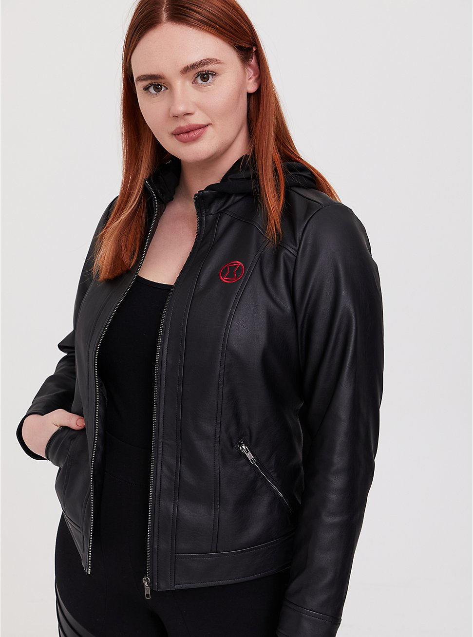 Her Universe Marvel Black Widow Black Faux Leather Hooded Jacket, DEEP BLACK, hi-res