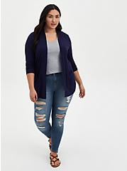 Plus Size Super Soft Navy Ruched Sleeve Open Front Cardigan, PEACOAT, alternate