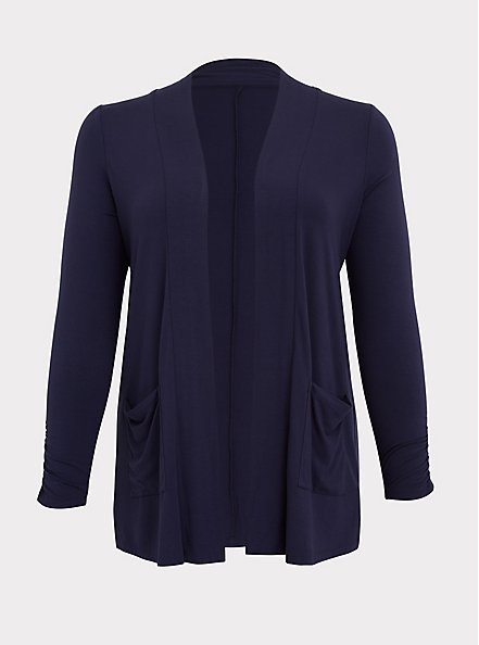 Super Soft Navy Ruched Sleeve Open Front Cardigan, PEACOAT, hi-res