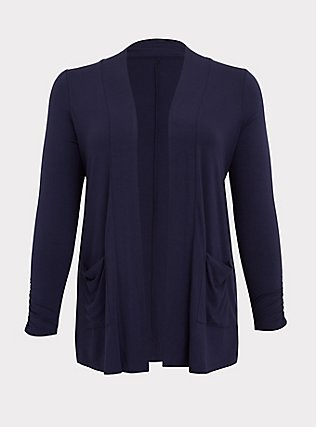 Super Soft Navy Ruched Sleeve Open Front Cardigan, PEACOAT, flat