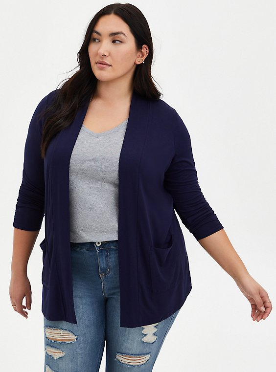 Plus Size Super Soft Navy Ruched Sleeve Open Front Cardigan, , hi-res