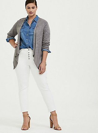 Grey Slub Drape Front Cardigan, FROST GRAY, alternate