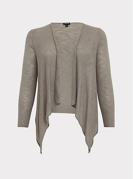 Grey Slub Drape Front Cardigan, FROST GRAY, hi-res
