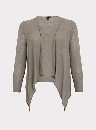 Grey Slub Drape Front Cardigan, FROST GRAY, flat