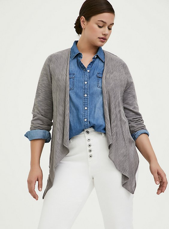 Plus Size Grey Slub Drape Front Cardigan, , hi-res