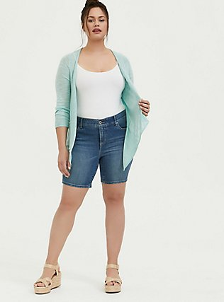 Mint Blue Slub Drape Front Cardigan, HARBOR GRAY, alternate
