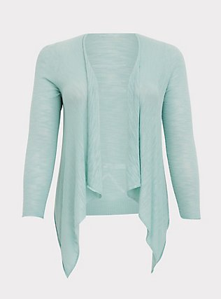 Mint Blue Slub Drape Front Cardigan, HARBOR GRAY, flat