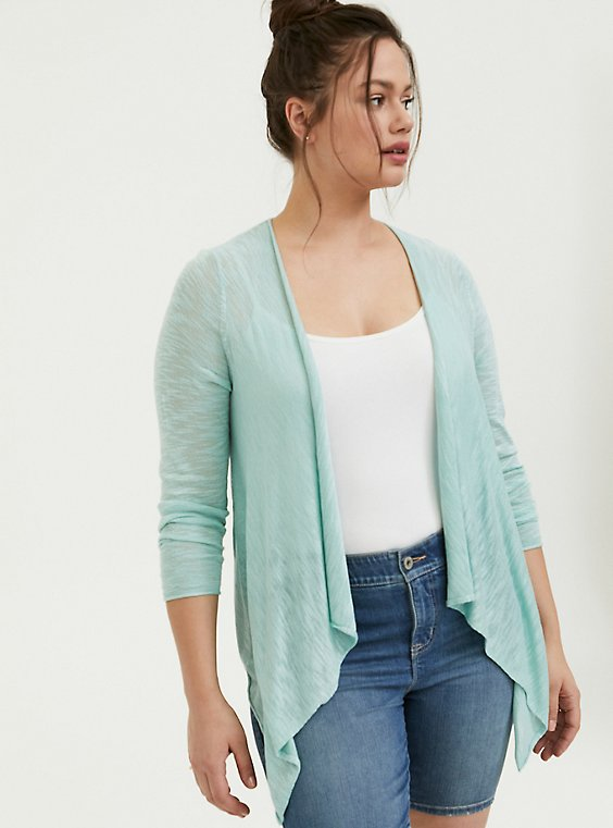 Plus Size Mint Blue Slub Drape Front Cardigan, , hi-res