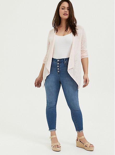 Light Pink Drape Front Cardigan, PEACH BLUSH, alternate