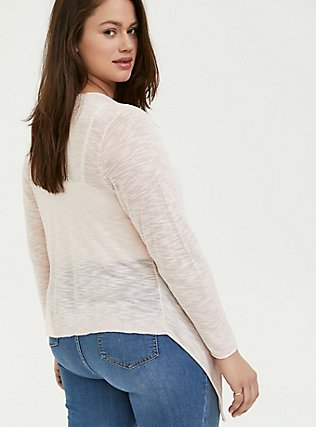 Light Pink Drape Front Cardigan, PEACH BLUSH, alternate