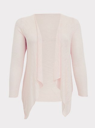 Light Pink Drape Front Cardigan, PEACH BLUSH, flat