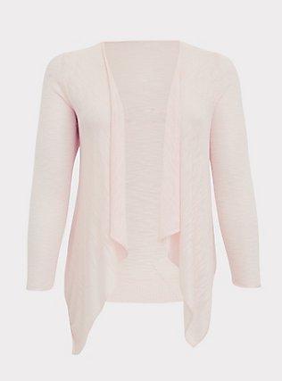 Plus Size Light Pink Drape Front Cardigan, PEACH BLUSH, flat