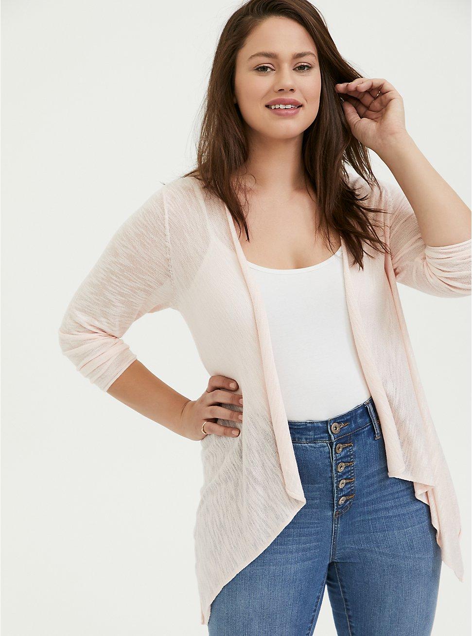 Light Pink Drape Front Cardigan, PEACH BLUSH, hi-res