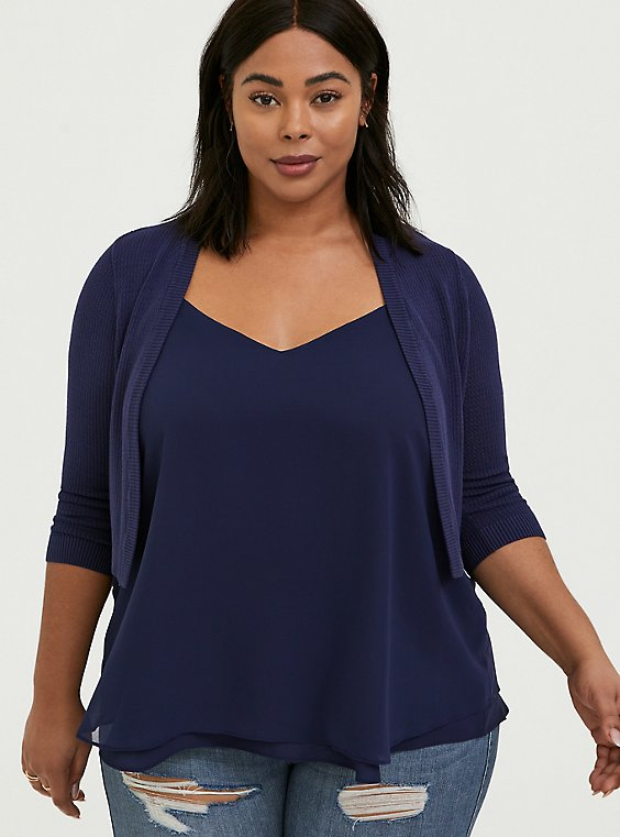 Plus Size Navy Waffle Knit Open Front Shrug, , hi-res