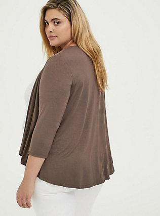 Super Soft Dark Taupe Hi-Lo Cardigan, FALCON, alternate