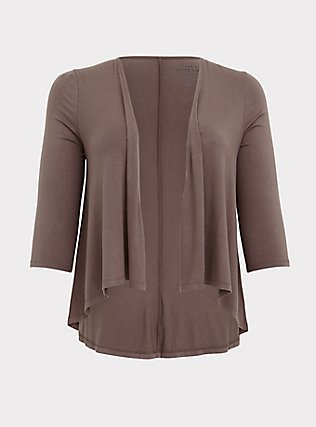 Super Soft Dark Taupe Hi-Lo Cardigan, FALCON, flat
