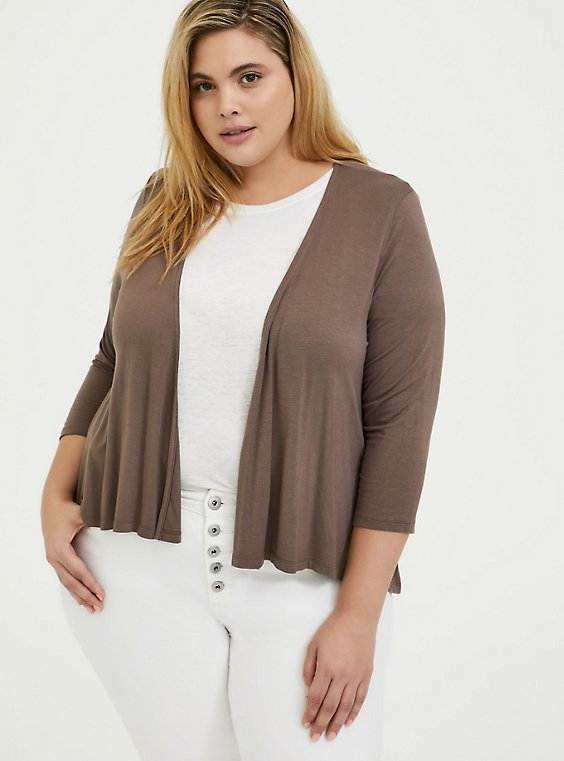 Plus Size Super Soft Dark Taupe Hi-Lo Cardigan, , hi-res