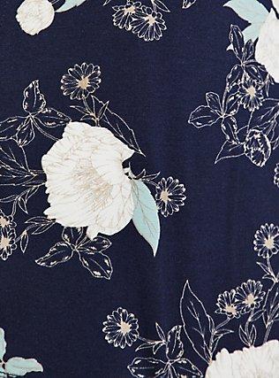 Plus Size Super Soft Navy Floral Hi-Lo Cardigan, FLORAL - BLUE, alternate