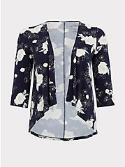 Plus Size Super Soft Navy Floral Hi-Lo Cardigan, FLORAL - BLUE, hi-res