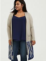 Super Soft Taupe & Navy Tie-Dye Dipped Longline Cardigan, ATMOSPHERE, alternate