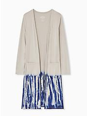 Super Soft Taupe & Navy Tie-Dye Dipped Longline Cardigan, ATMOSPHERE, hi-res