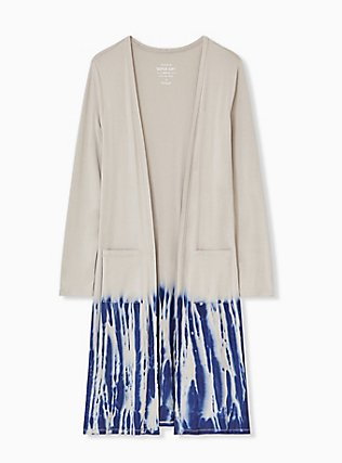 Super Soft Taupe & Navy Tie-Dye Dipped Longline Cardigan, ATMOSPHERE, flat