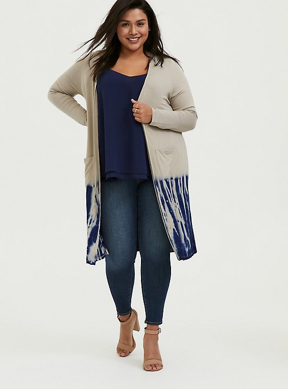 Plus Size Super Soft Taupe & Navy Tie-Dye Dipped Longline Cardigan, , hi-res