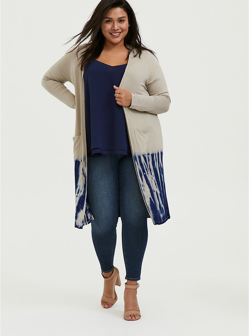 Plus Size Super Soft Taupe & Navy Tie-Dye Dipped Longline Cardigan, ATMOSPHERE, hi-res
