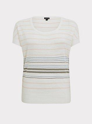 White Multi Stripe Slub Dolman Top, STRIPE - MULTI, flat
