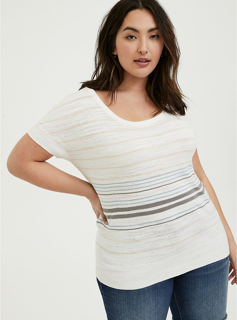 Plus Size White Multi Stripe Slub Dolman Top, STRIPE - MULTI, hi-res