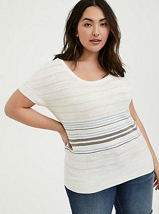 White Multi Stripe Slub Dolman Top, STRIPE - MULTI, hi-res
