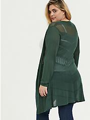 Plus Size Green Pointelle Open Front Cardigan, GARDEN TOPIARY, alternate