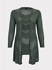 Plus Size Green Pointelle Open Front Cardigan, GARDEN TOPIARY, hi-res