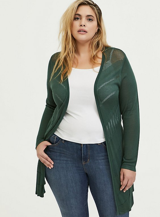 Plus Size Green Pointelle Open Front Cardigan, , hi-res