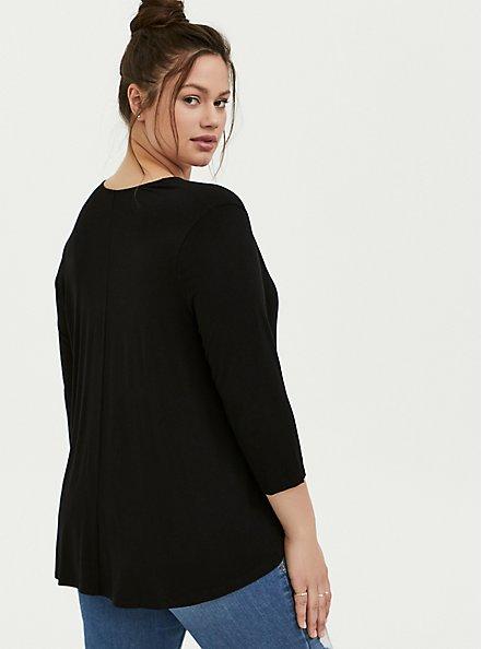 Plus Size Super Soft Black Hi-Lo Cardigan, DEEP BLACK, alternate