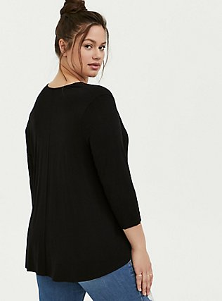 Super Soft Black Hi-Lo Cardigan, DEEP BLACK, alternate