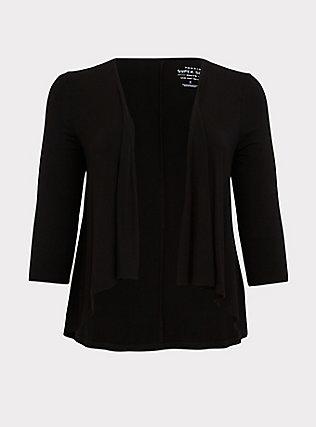 Super Soft Black Hi-Lo Cardigan, DEEP BLACK, flat