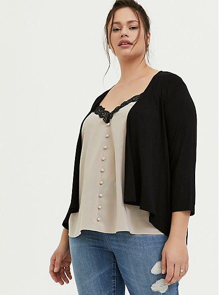 Plus Size Super Soft Black Hi-Lo Cardigan, DEEP BLACK, hi-res