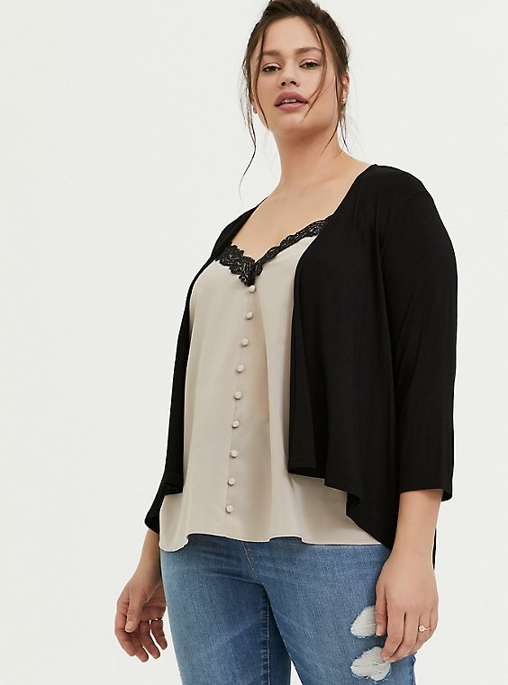 Super Soft Black Hi-Lo Cardigan, , hi-res
