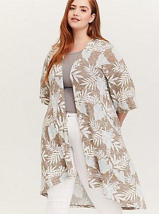 Olive Green Tropical Hacci Hi-Lo Kimono, FLORAL - BLUE, alternate