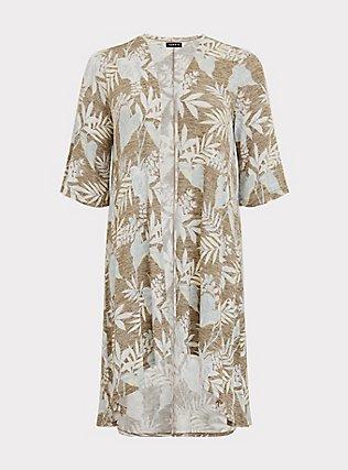 Olive Green Tropical Hacci Hi-Lo Kimono, FLORAL - BLUE, flat