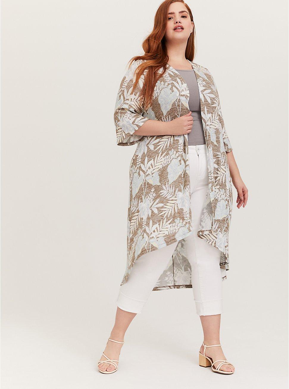 Olive Green Tropical Hacci Hi-Lo Kimono, FLORAL - BLUE, hi-res