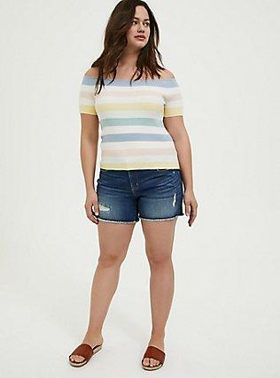 Pastel Stripe Rib Off Shoulder Midi Top, STRIPE - MULTI, alternate