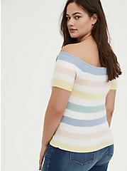 Plus Size Pastel Stripe Rib Off Shoulder Midi Top, STRIPE - MULTI, alternate